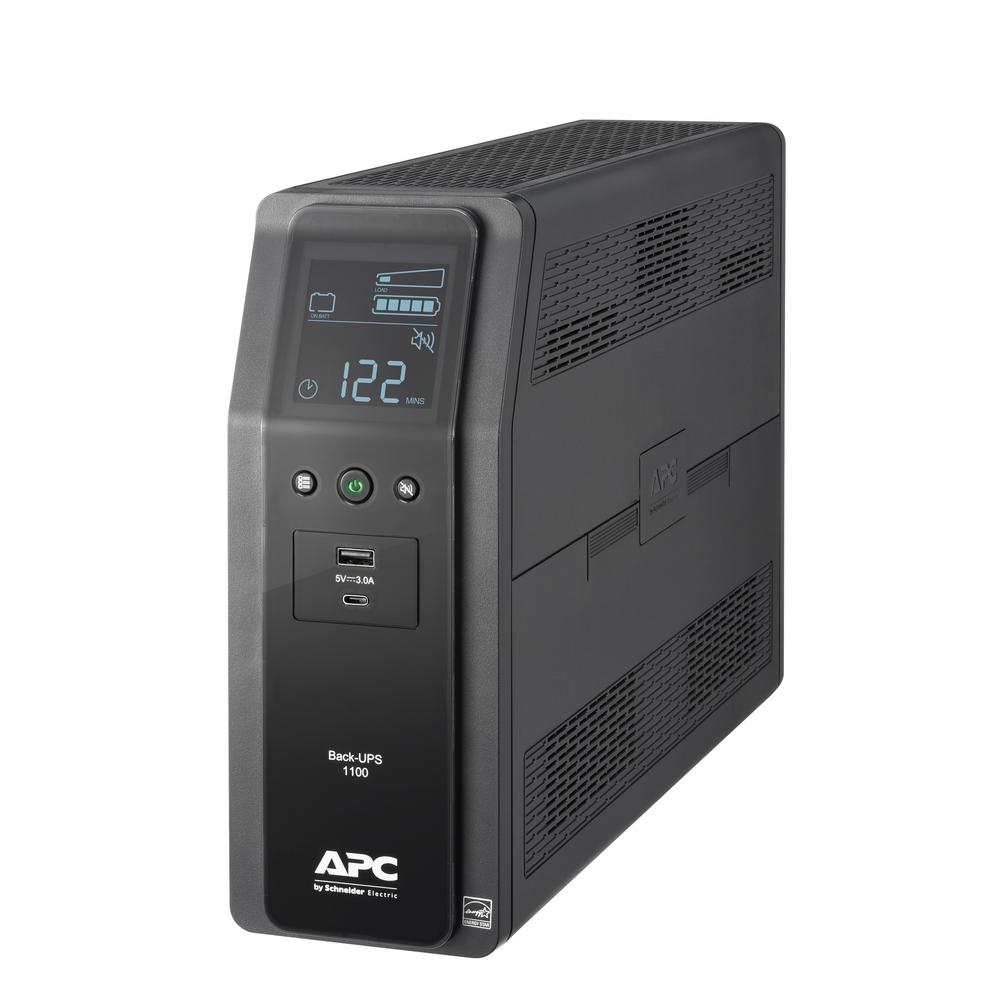 APC Back-UPS Pro 1100VA 10-Outlet and 2-USB Battery Backup The new APC Back-UPS Pro models provide premium battery backup and surge protection. APC Back-UPS Pro models provide USB charging ports for your mobile devices and increased runtime for your critical electronics. Ideal for small or home office electronics, networking devices. And gaming consoles. The BN1100M2 UPS protects connected devices from dangerous surges or spikes in voltage. Automatic Voltage Regulation (AVR) technology consistently maintains safe voltage conditions without draining the battery, saving backup run time for power outages. The BN1100M2 also provides 1Gb dataline surge and spike protection for telephone, Ethernet and coaxial cable connections.