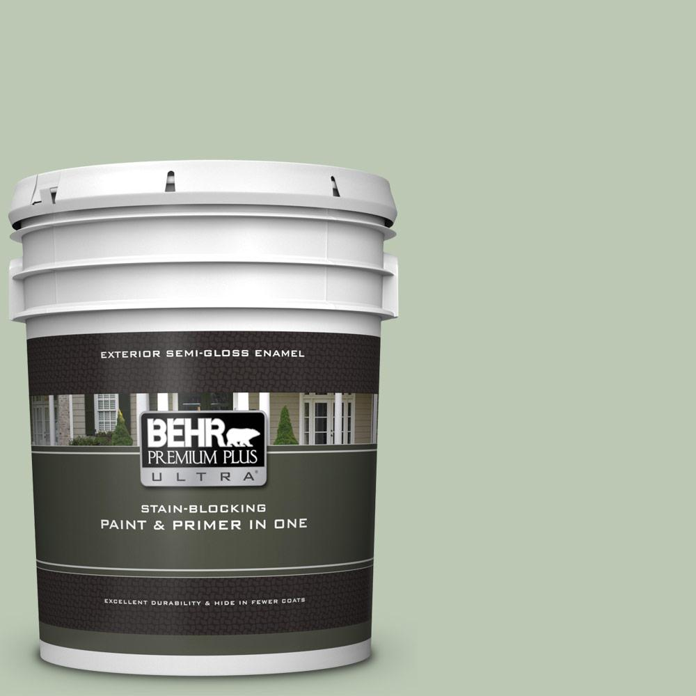 BEHR Premium Plus Ultra 5 gal. #MQ6-45 Composed Semi-Gloss Enamel Exterior Paint and Primer in One