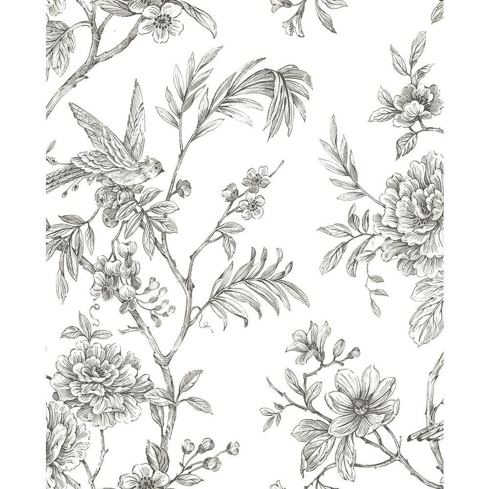 A-Street 8 in. x 10 in. Jessamine Grey Floral Trail Wallpaper