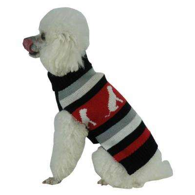 Medium Red and Black and Grey Stripe Fashion Ribbed Turtle Neck Dog Sweater