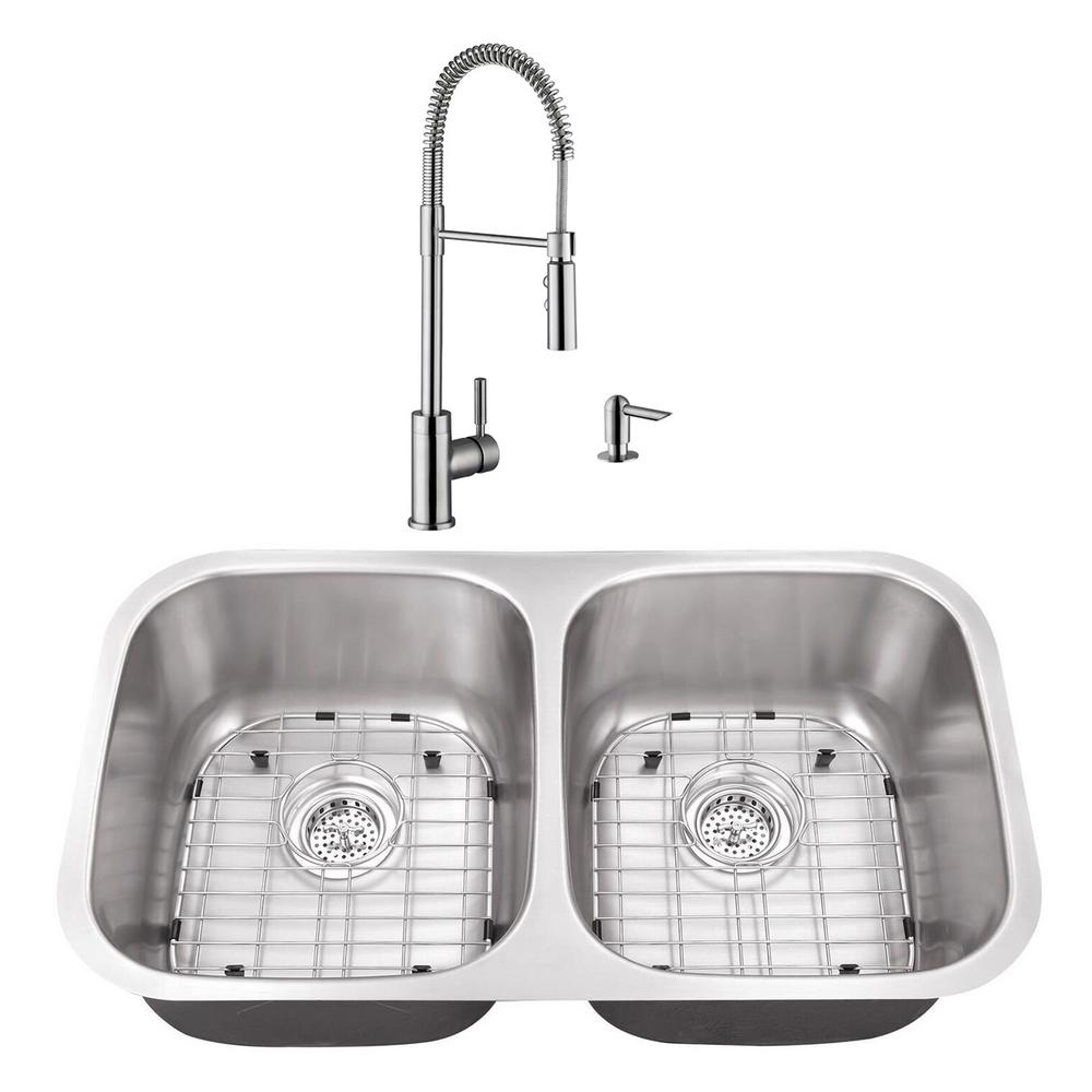 Cahaba Undermount Stainless Steel 29-1/8 in. 50/50 Double Bowl Kitchen Sink with Brushed Nickel Faucet