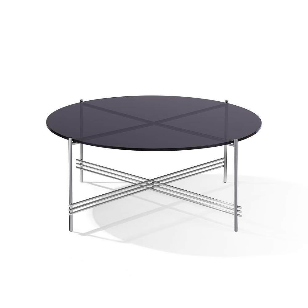 Cedric 41 In Smoked Glass Chrome Large Round Glass Coffee Table 5ue421 The Home Depot