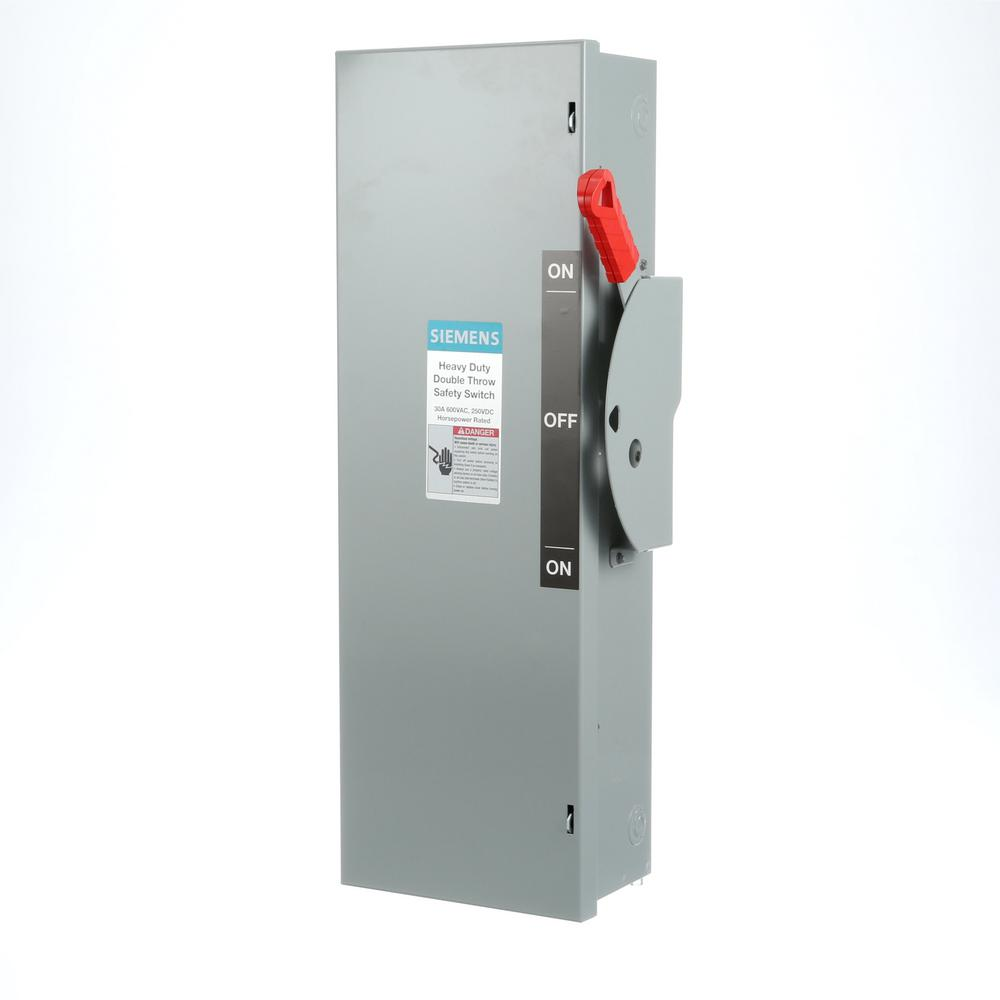 Siemens 30 Amp 3-Pole 3-Wire Double Throw Switch Fused Indoor-DTF361 ...