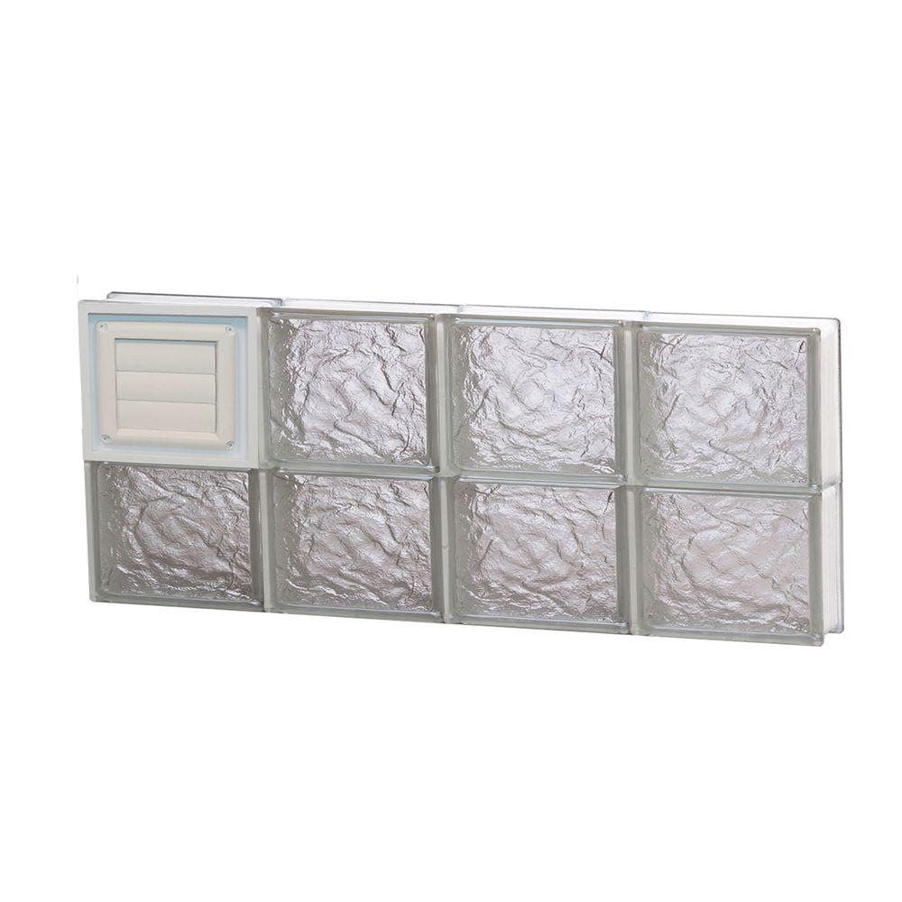 Clearly Secure 31 in. x 11.5 in. x 3.125 in. Frameless Ice Pattern Glass Block Window with Dryer Vent