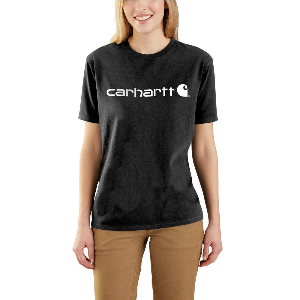 667dbbf72c Carhartt Women's Medium Black Cotton Workwear Logo Short Sleeve T ...