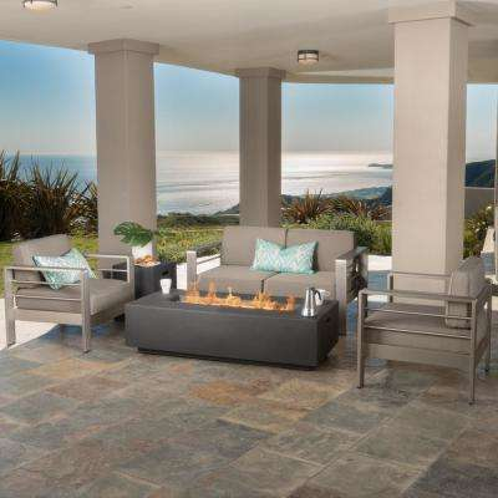 Cape Coral Khaki 5-Piece Aluminum Patio Fire Pit Seating Set with Khaki Cushions