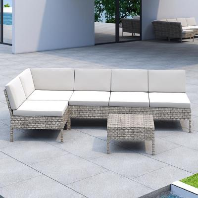 6-Piece Wicker Outdoor Sectional Set with Off-White Cushions