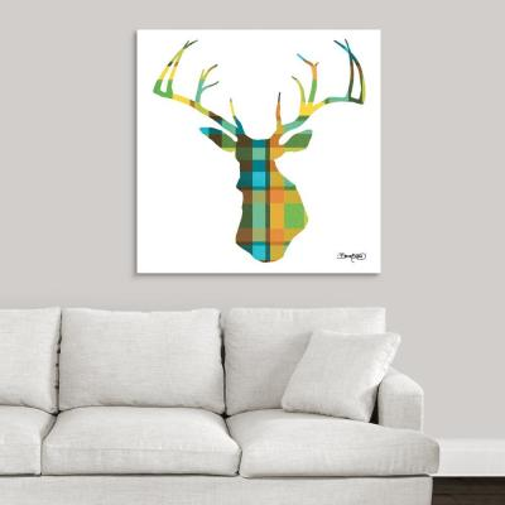 """Deer Plaid"" by David Bromstad Canvas Wall Art"