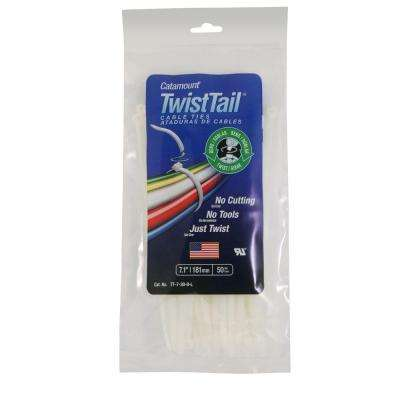 7 in. 30 lb. Twisttail Cable Tie - White (20 Packs of 50/Case - 1000 Total Pieces)