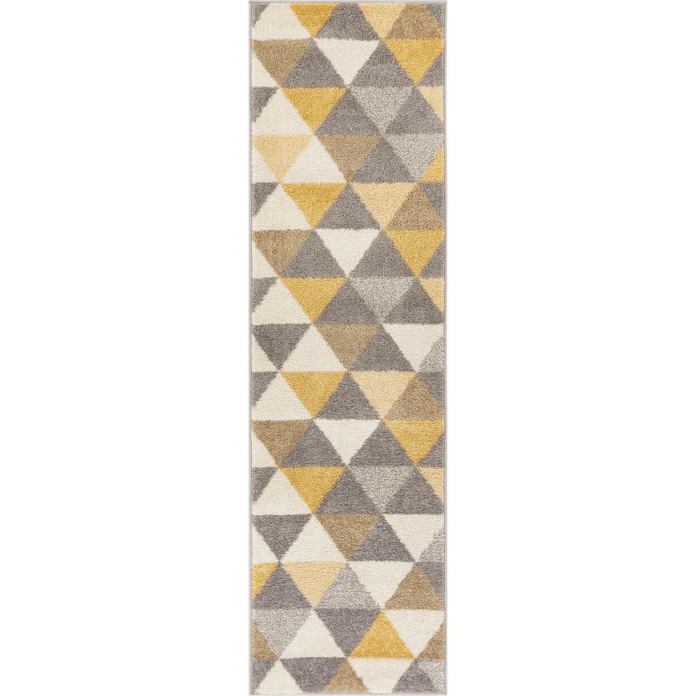 Mystic Alvin Gold 2 ft. x 7 ft. Modern Geometric Runner Rug