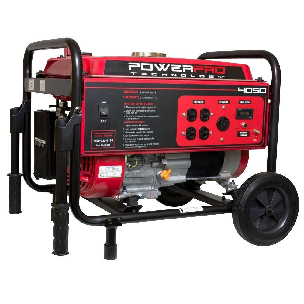 Power Pro Technology 3,250-Watt Gasoline Powered Portable Generator with Wheel Kit