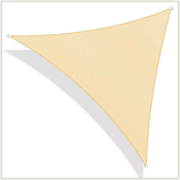 28 ft. x 28 ft. 190 GSM Beige Equilateral Triangle Sun Shade Sail Screen Canopy, Outdoor Patio and Pergola Cover