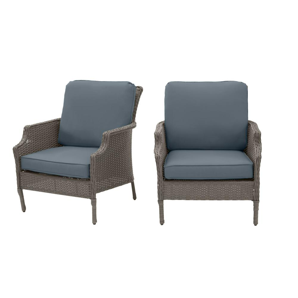 Hampton Bay Grayson Ash Gray Wicker Outdoor Patio Lounge with Sunbrella Denim Blue Cushions (2-Pack) was $399.0 now $319.2 (20.0% off)