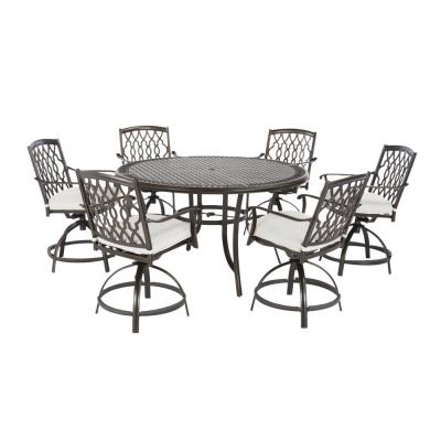 Ridge Falls 7-Piece Dark Brown Aluminum Outdoor Patio High Dining Set with CushionGuard Chalk White Cushions