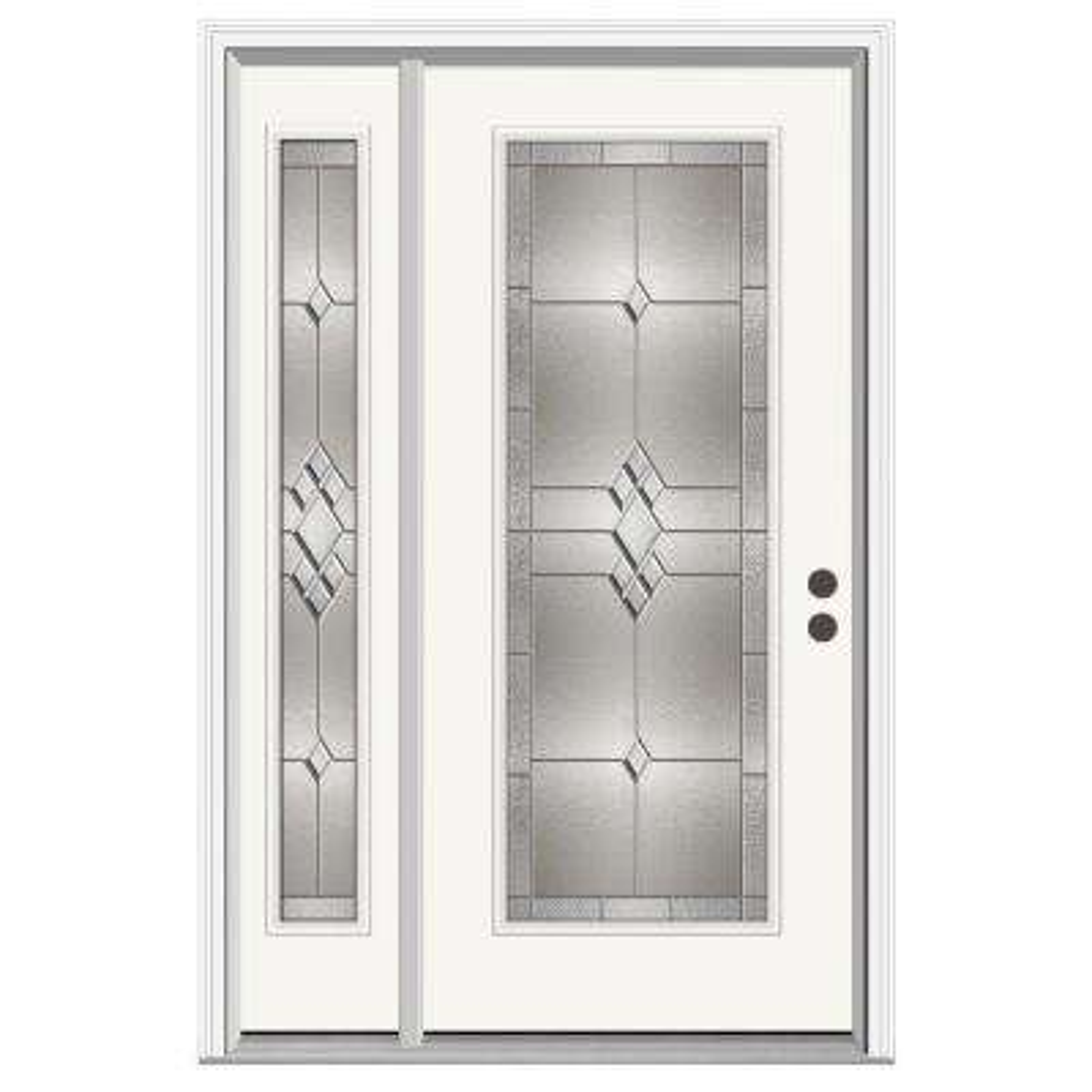 52 in. x 80 in. Full Lite Kingston Primed Steel Prehung Left-Hand Inswing Front Door with Left-Hand Sidelite