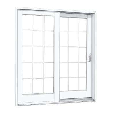 72 in. x 80 in. Smooth White Right-Hand Composite PG50 Sliding Patio Door with 15-Lite GBG