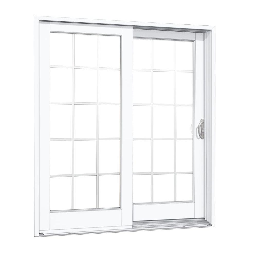 MP Doors 72 in. x 80 in. Woodgrain Interior and Smooth White Exterior Right-Hand Composite PG50 Sliding Patio Door w/15-Lite SDL