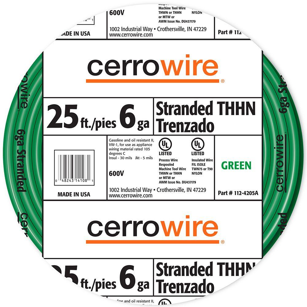 Cerrowire 25 ft. 6/19 Green Stranded THHN Wire-112-4205AR - The Home ...