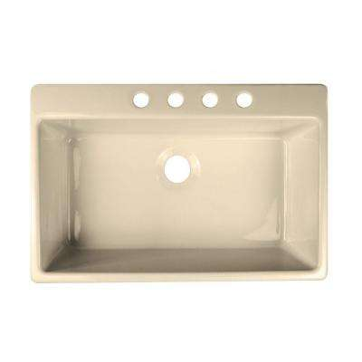 Essence Drop-In Acrylic 33x22x9 in. 4-Hole Single Bowl Kitchen Sink in Almond