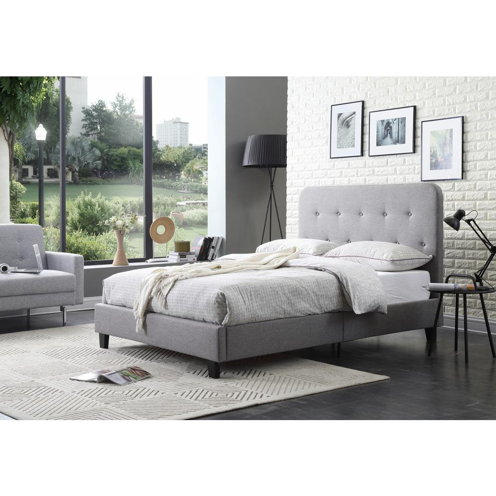 Hodedah Upholstered Panel Bed with Tufted Gray Queen-Size Headboard