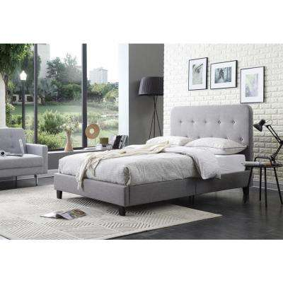 Upholstered Panel Bed with Tufted Gray Queen-Size Headboard