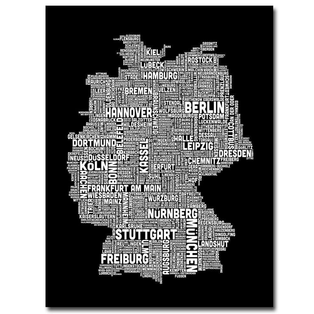 Trademark Fine Art 24 in. x 18 in. Germany Text Map I Canvas Art