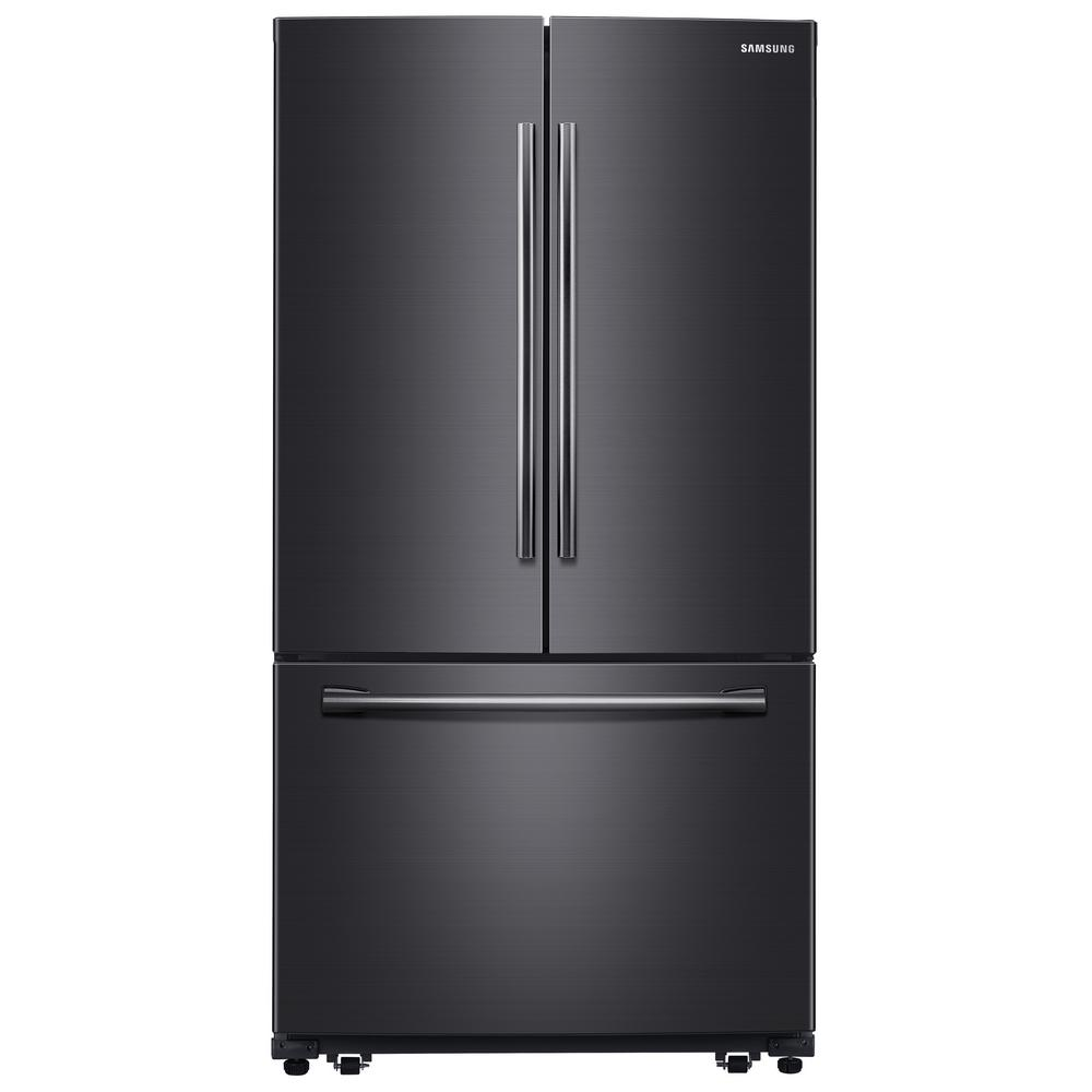 Samsung 25.5 cu. ft. French Door Refrigerator with Internal Water Dispenser in Fingerprint Resistant Black Stainless, Fingerprint Resistant Black was $1943.0 now $1348.0 (31.0% off)