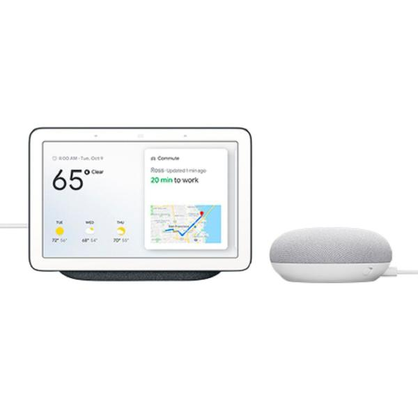 Nest Hub in Charcoal with Google Home Mini in Chalk