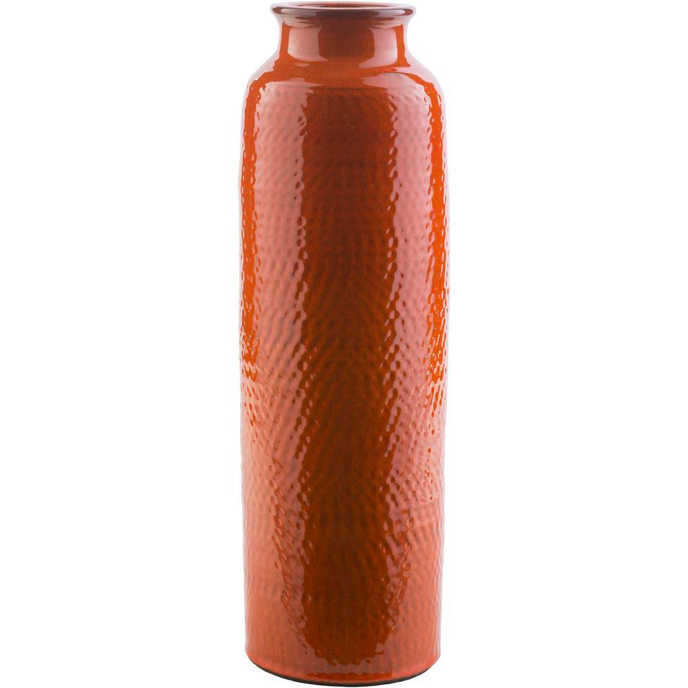 Rismi 19 in. Orange Ceramic Decorative Vase