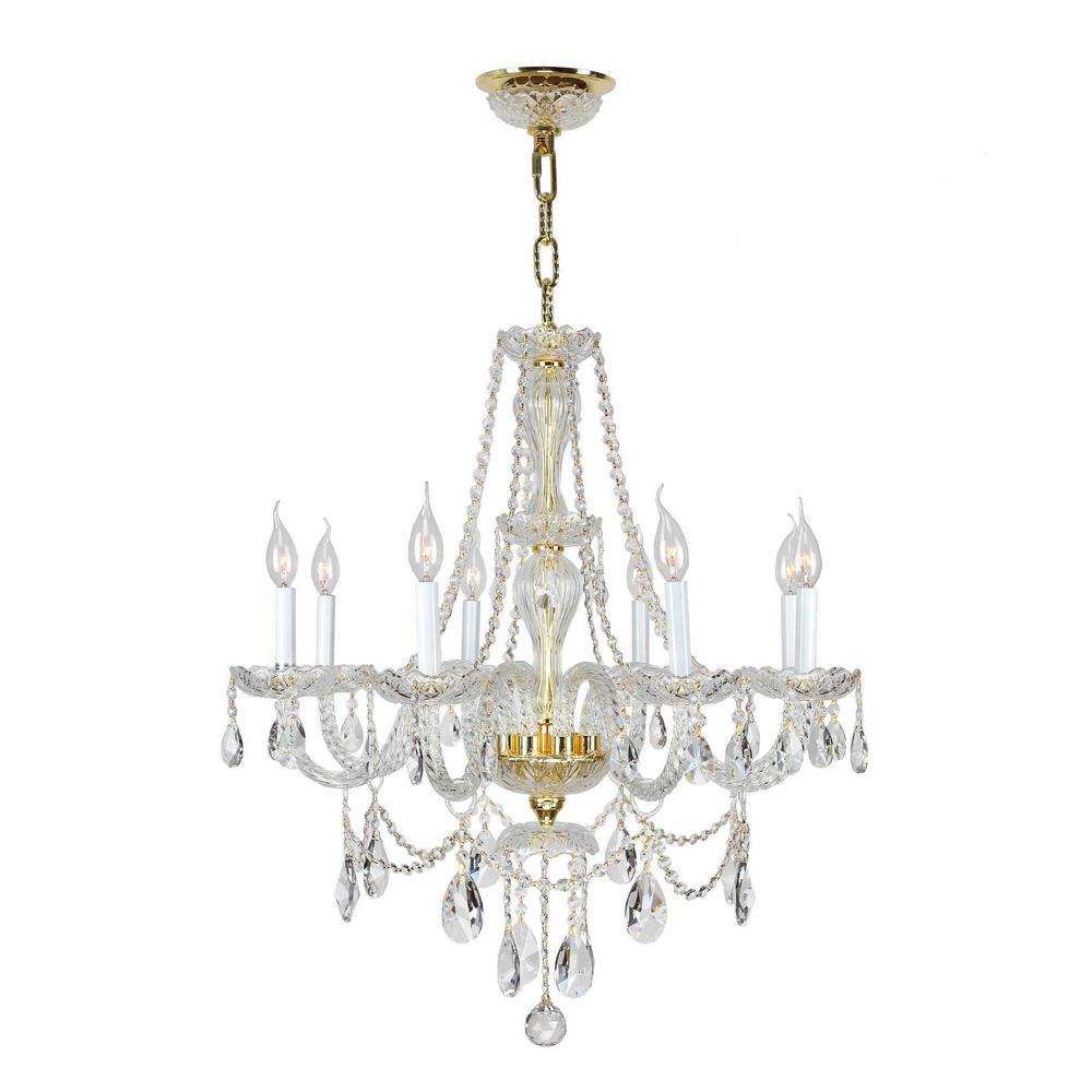 Worldwide Lighting Provence Collection 8 Light Polished Gold Chandelier With Clear Crystal