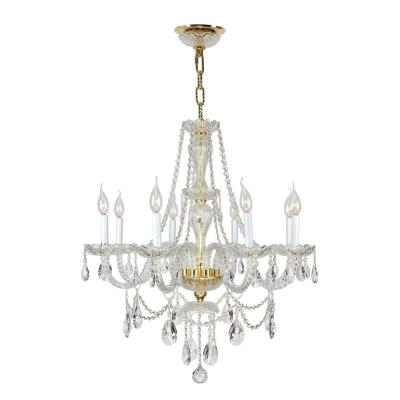 Provence Collection 8-Light Polished Gold Chandelier with Clear Crystal