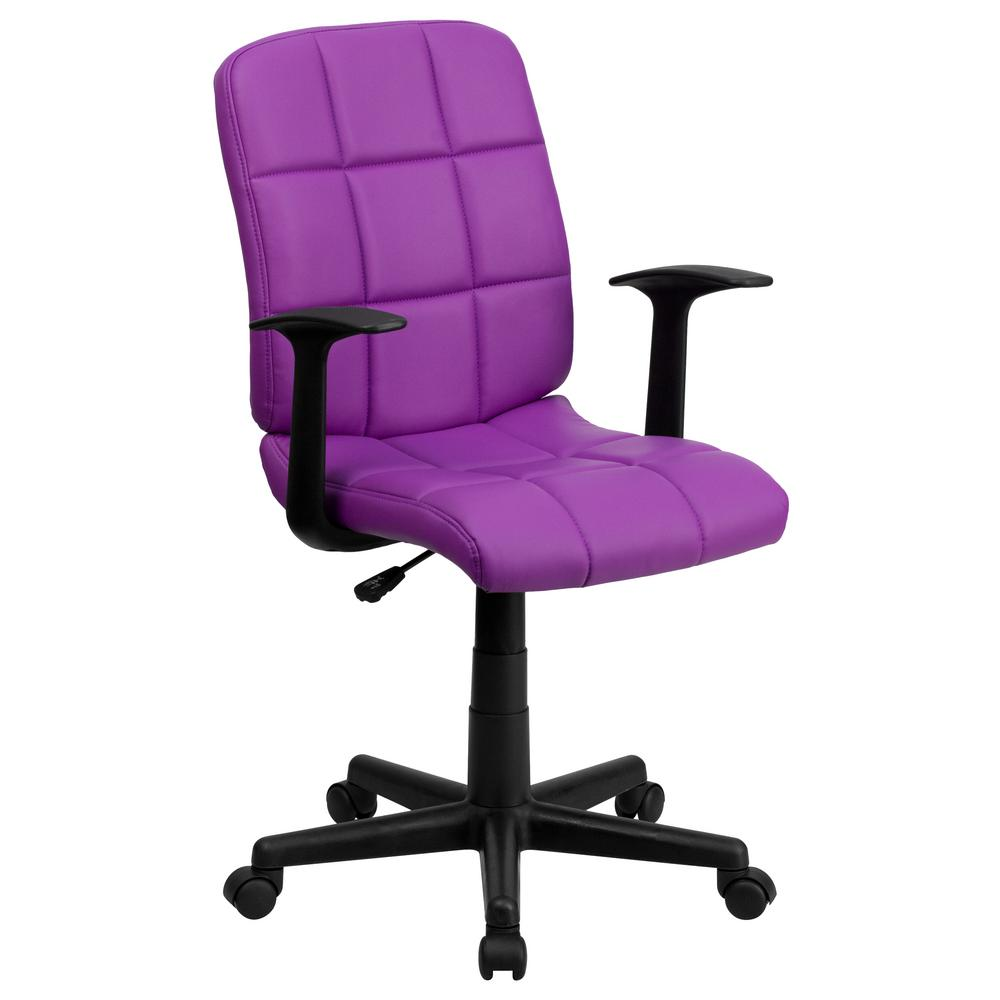 Flash Furniture Mid Back Purple Quilted Vinyl Swivel Task Chair With Nylon Arms