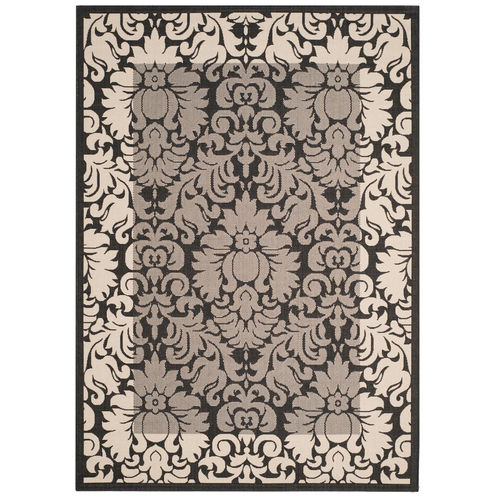 Courtyard Black/Sand 9 ft. x 12 ft. Indoor/Outdoor Area Rug
