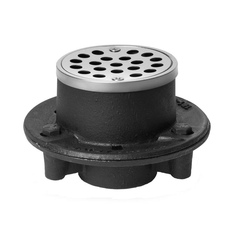 oatey 1 1 2 in cast iron shower floor drain with 3 1 4 in