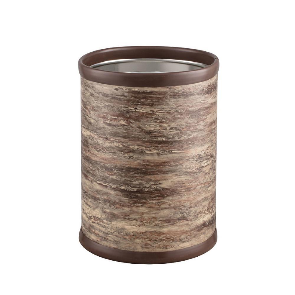 Quarry 8 Qt. Brown Stone Round Waste Basket