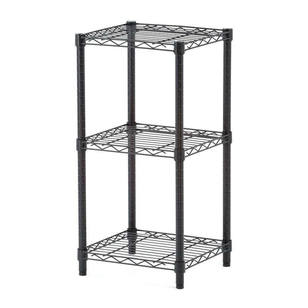 3-Shelf 14 in. W x 30 in. H x 15 in. D Steel Shelving Unit in Black