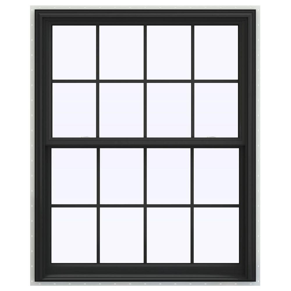 JELD-WEN 43.5 in. x 47.5 in. V-2500 Series Double Hung Vinyl Window with Grids - Bronze