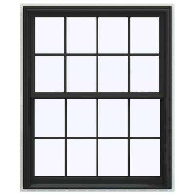 43.5 in. x 59.5 in. V-2500 Series Bronze Painted Vinyl Double Hung Window with Colonial Grids/Grilles