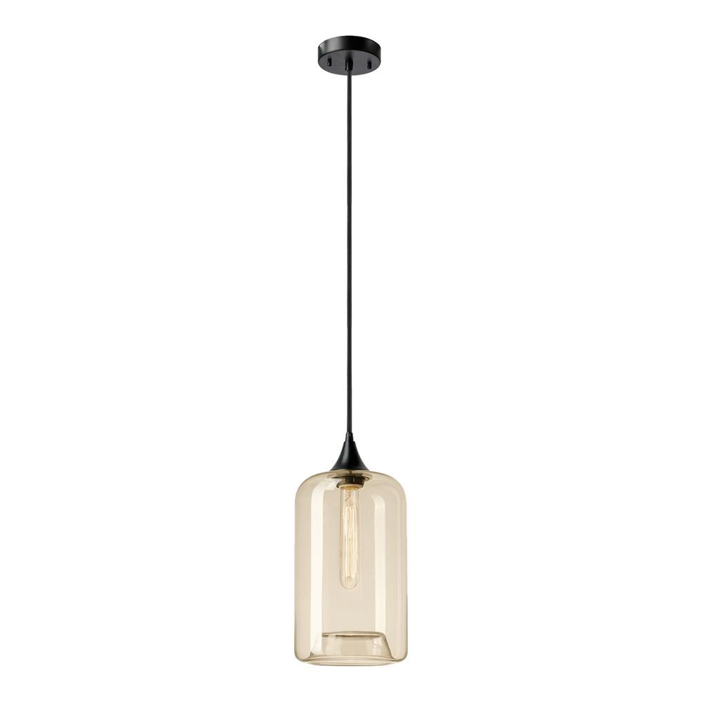 Globe Electric Ariana 1 Light Matte Black And Cylinder Amber Gl Pendant