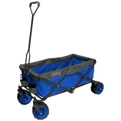 7 cu. ft. Folding Garden Wagon Carts in 2-Tone Blue/Grey