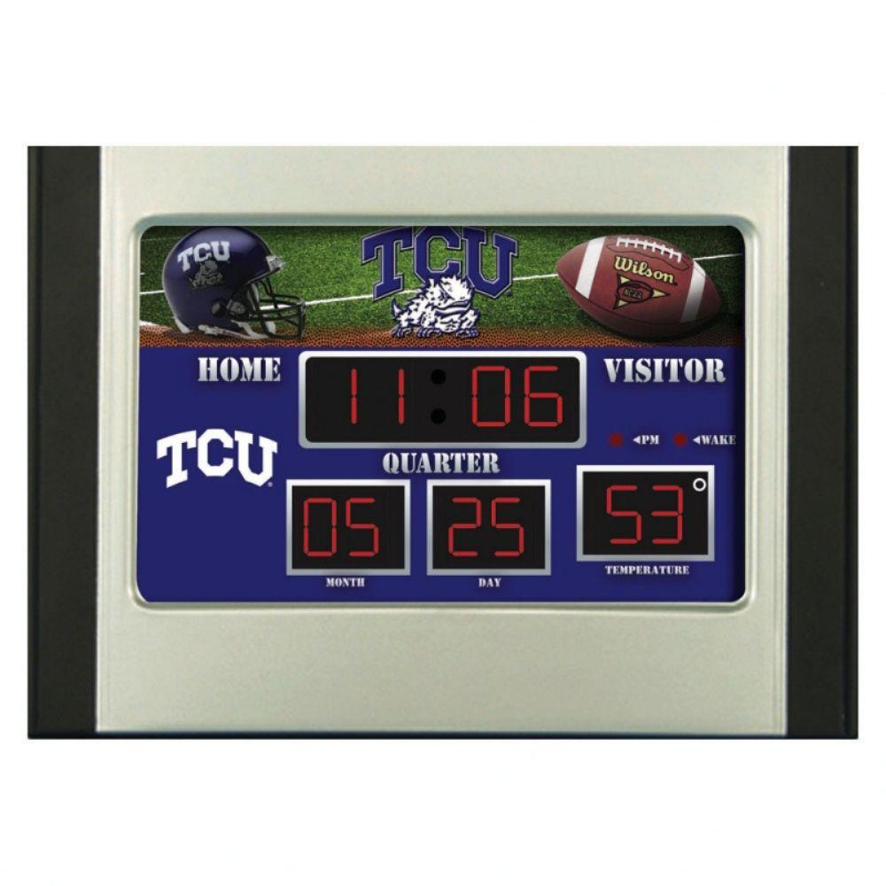 null Texas Christian University 6.5 in. x 9 in. Scoreboard Alarm Clock with Temperature