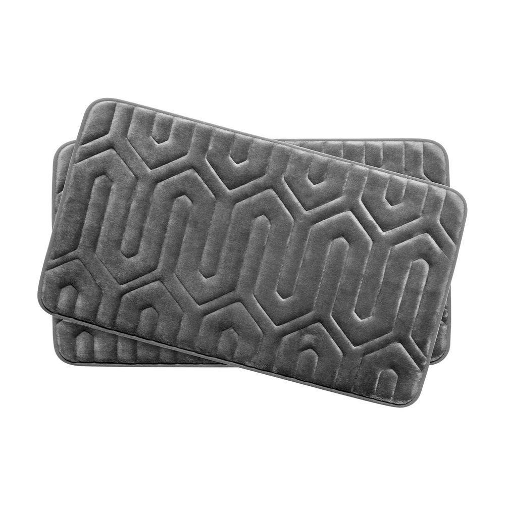 Thea Dark Gray 17 in. x 24 in. Memory Foam 2-Piece Bath Mat Set