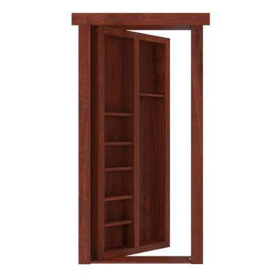 32 in. x 80 in. Flush Mount Assembled Pool Cue Door Hickory Cherry Stained Right-Hand Outswing