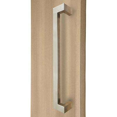13.5 in. Rectangular Offset 1.5 in. x 1 in. Brushed Satin Stainless Steel Door Pull Handleset for Easy Installation