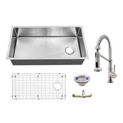 All-in-One 18-Guage Undermount Stainless Steel 36 in. Single Bowl Kitchen Sink with Spring Neck Faucet in Brushed