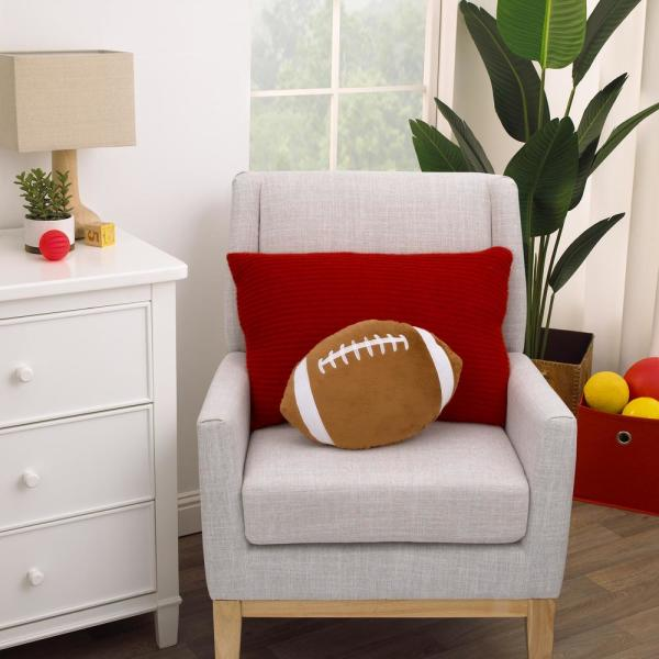 LITTLE LOVE BY NOJO - Sports Brown and White Football with Embroidery 11 in. x 15 in. Decorative Pillow