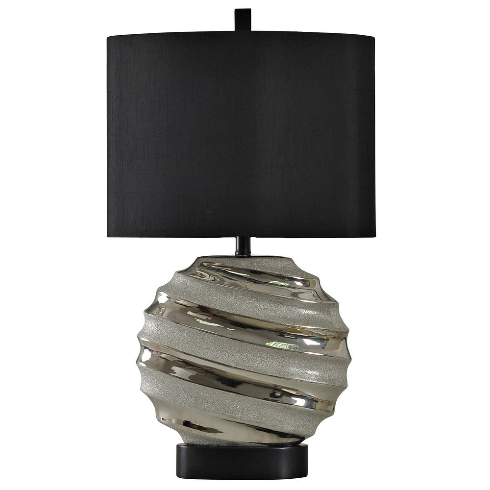 Stylecraft 30 In Silver Table Lamp With Black Hardback Fabric Shade L310145ds The Home Depot