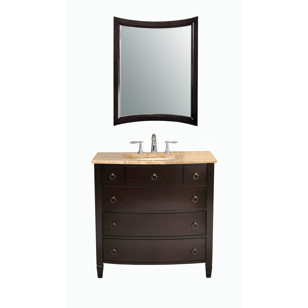 Virtu USA Venice 36 in. Single Basin Vanity in Espresso with Porcelain Vanity Top in Travertine and Mirror-DISCONTINUED