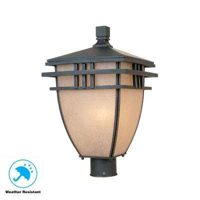 Aged Bronze Patina Outdoor Post Light With Ochere Gl