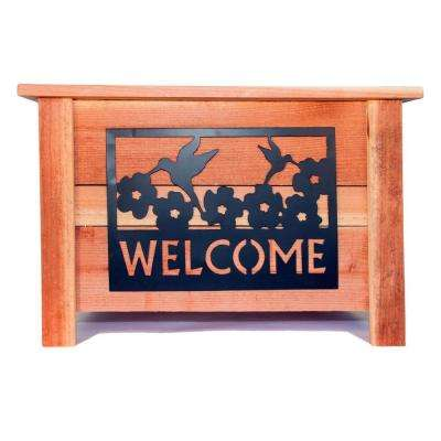 24 in. x 24 in. Redwood Planter with Welcome Sign